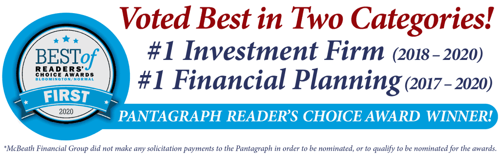 McBeath Financial Group Voted Best Investment Firm and Best Financial Planning for Pantagraph Reader's Choice Awards